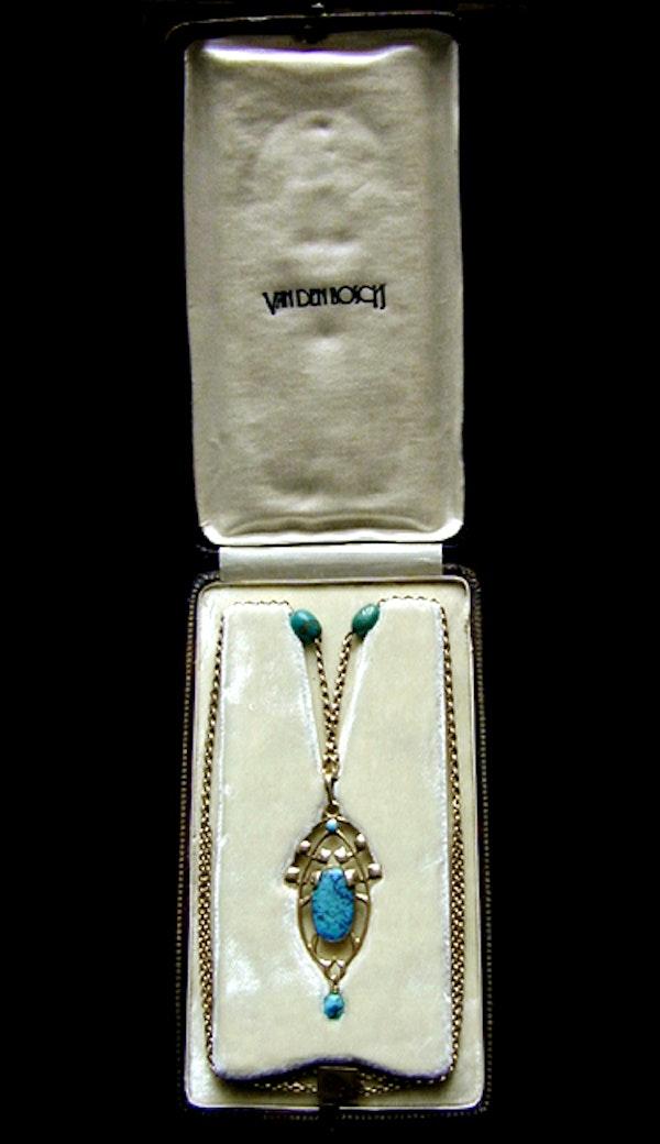 Archibald Knox for Liberty & Co. An Arts & Crafts / Art Nouveau Gold turquoise pendant. - image 4