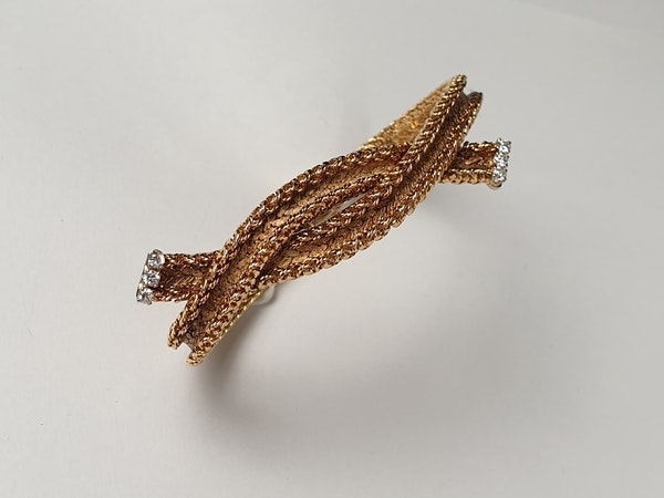 Cool 1960's French woven 18ct gold bracelet  DBGEMS - image 2