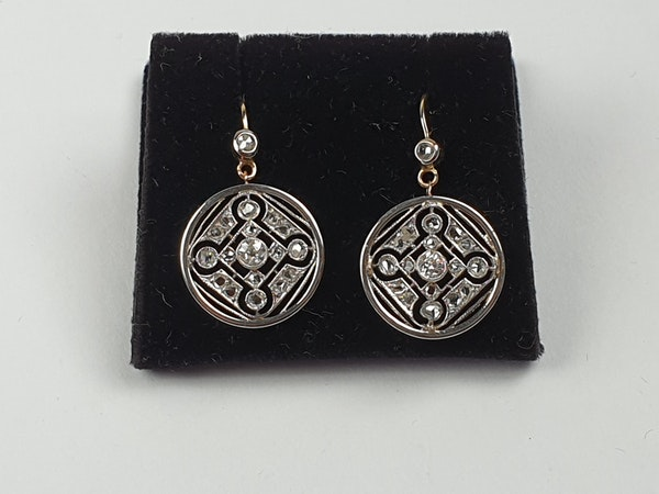 Geometric edwardian diamond drop earring  DBGEMS - image 1