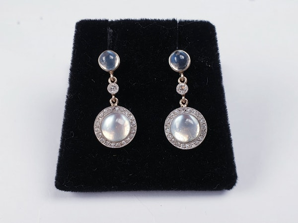Antique moonstone and diamond drop earrings  DBGEMS - image 2