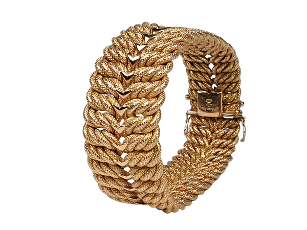 18ct gold inter woven wide gold bracelet  DBGMES - image 4