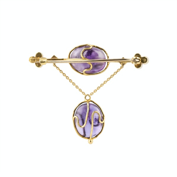 Art Nouveau amethyst, pearl and demantoid garnet brooch/pin - image 2