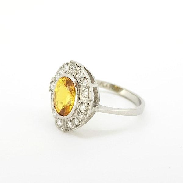 Yellow Sapphire and Diamond Ring in Platinum - image 3