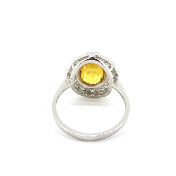 Yellow Sapphire and Diamond Ring in Platinum - image 4