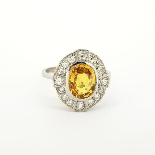 Yellow Sapphire and Diamond Ring in Platinum - image 2
