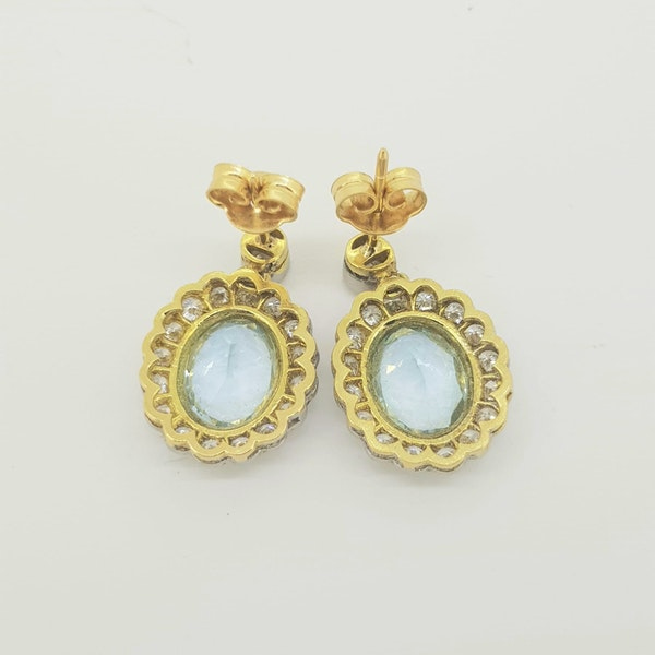 Aquamarine and diamond drop cluster earrings A3.80cts - image 3