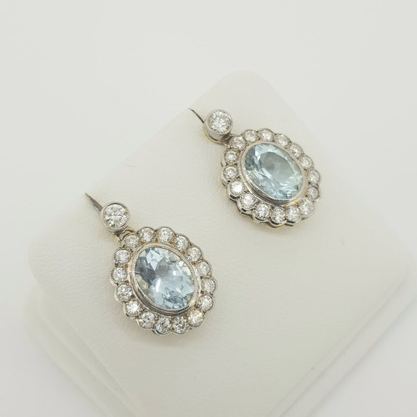 Aquamarine and diamond drop cluster earrings A3.80cts - image 2