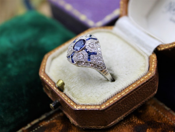 "An ""Art Deco Style"" Sapphire & Diamond Demi-Bombe Ring mounted in Platinum, Mid-late 20th Century - image 2"