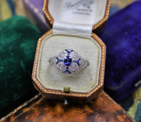 "An ""Art Deco Style"" Sapphire & Diamond Demi-Bombe Ring mounted in Platinum, Mid-late 20th Century - image 1"