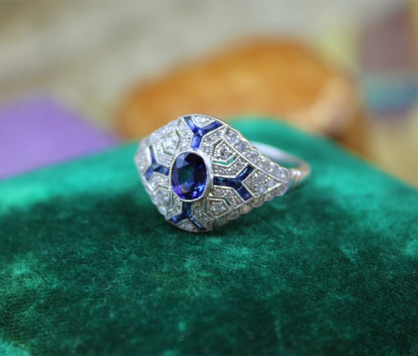 "An ""Art Deco Style"" Sapphire & Diamond Demi-Bombe Ring mounted in Platinum, Mid-late 20th Century - image 3"