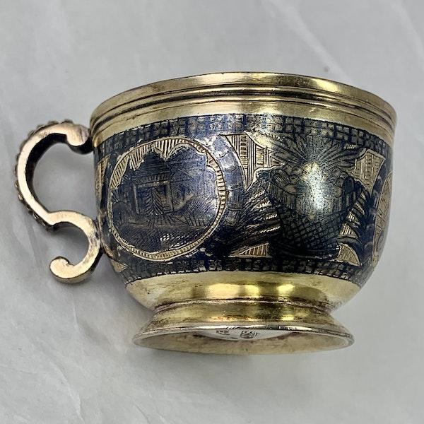 Russian nielloed silver vodka cup - image 2