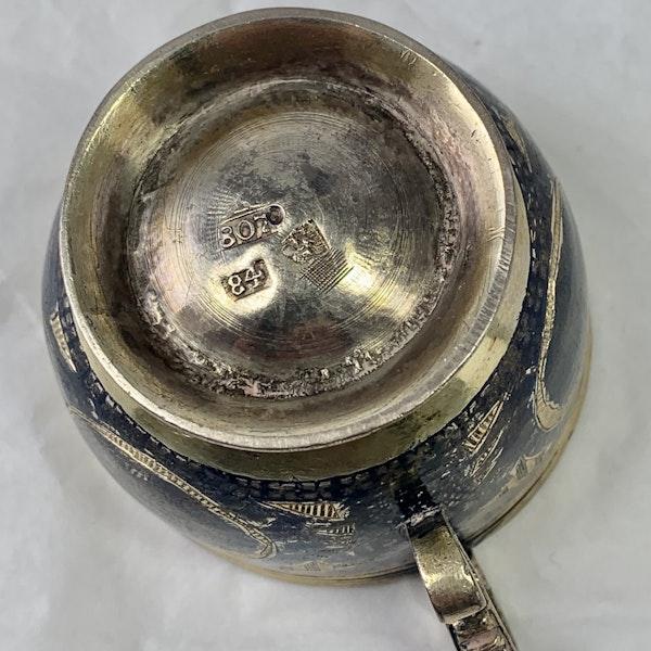 Russian nielloed silver vodka cup - image 4