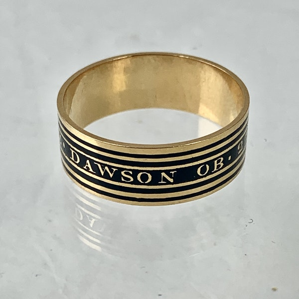 Memento Mori gold ring with black enamel - image 2