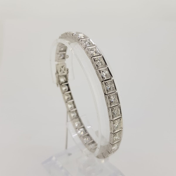 Art Deco Square collet-set Diamond Bracelet Est 12cts - image 2