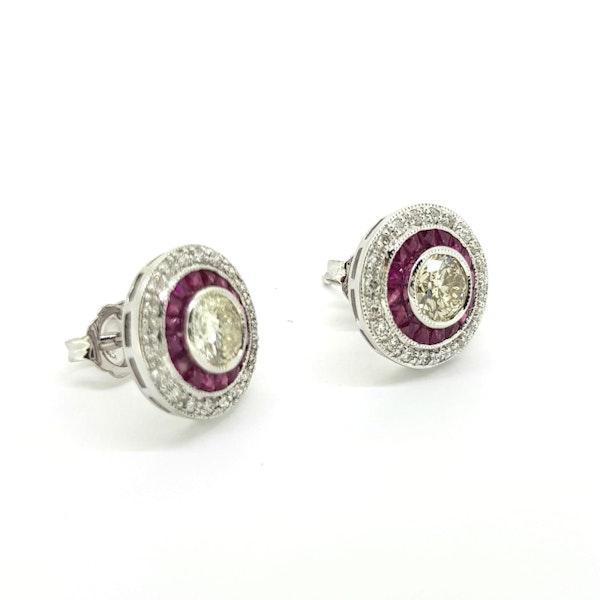 Ruby and Diamond Target Earrings - image 2