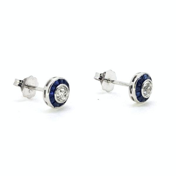 Sapphire and Diamond Target Earrings - image 2