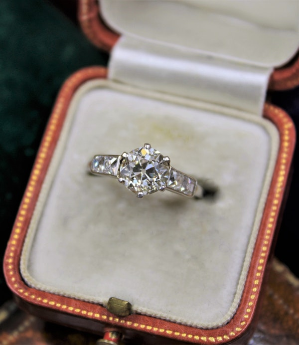 A very fine 1.60ct Old Cut Diamond & Platinum Solitaire Ring with French Cut Shoulders, English, Circa 1930 - image 4