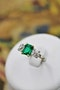 An exceptional Emerald and Diamond Three Stone Ring mounted in Platinum (Marked) and 18 Carat Gold, Pre-Owned - image 1