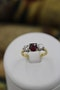 A very fine Three Stone Ruby & Diamond Ring mounted in 18ct Yellow Gold & Platinum, Circa 1950 - image 2