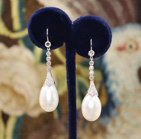 A fine pair of Pearl and Diamond Earrings set in 18ct White Gold, Pre-owned - image 1