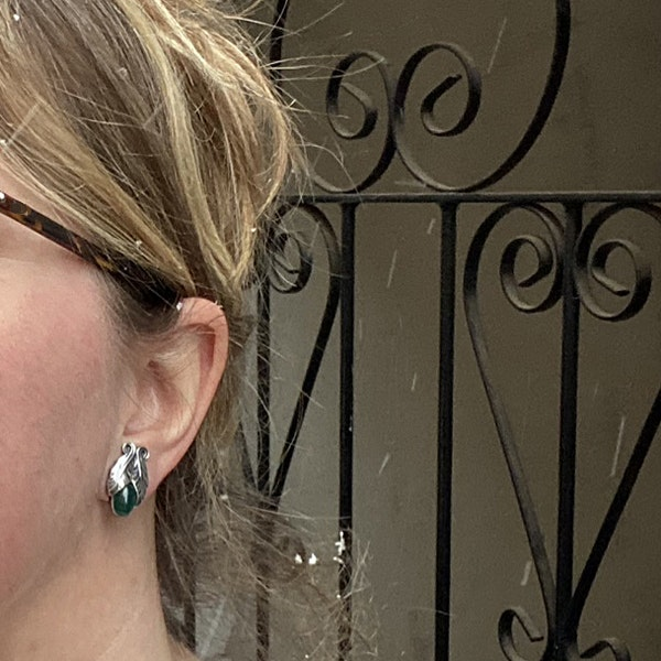 Date: 2008, Georg Jensen, Silver & Green Agate clip Earrings, SHAPIRO & Co since1979 - image 2
