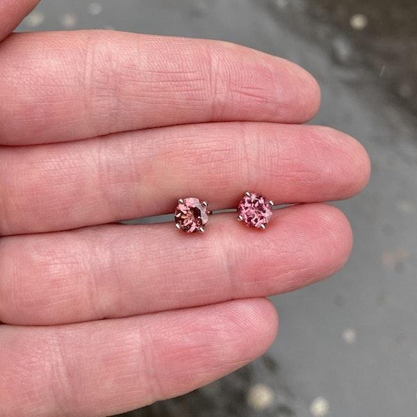 Date: circa 1980, 18ct White Gold, Pink Tourmaline stone set Earrings, SHAPIRO & Co since1979 - image 4