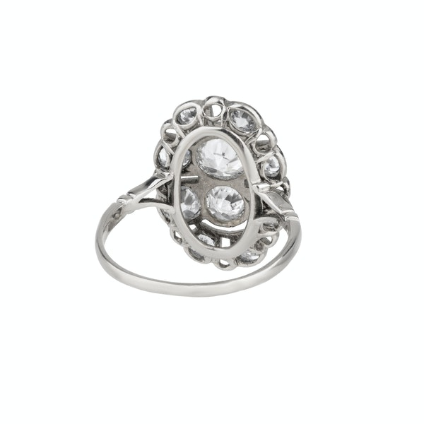 Oval tablet Art Deco diamond cluster ring - image 2