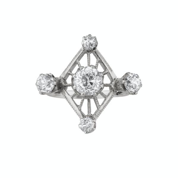 Lozenge shape Art Deco diamond ring - image 2