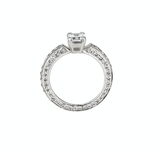 Emerald cut and brilliant cut diamond ring set in platinum - image 2