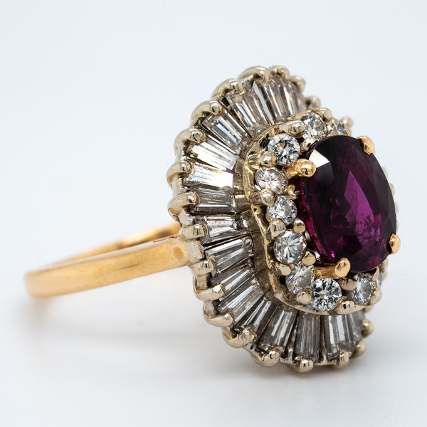 A 1950's Ruby and Diamond Cluster Ring Offered by The Gilded Lily - image 2