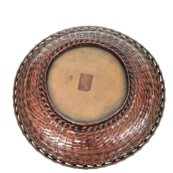 Japanese bronze woven plate - image 5
