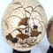 Pair Japanese ostrich eggs with lacquer decoration of Bijin - image 4