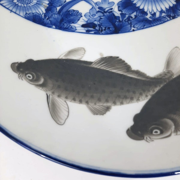 Japanese blue and white plate with fish painting - image 2