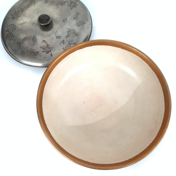 Japanese satsuma bon bon bowl with silver lid - image 3