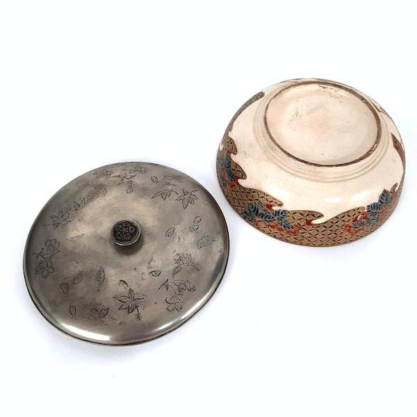 Japanese satsuma bon bon bowl with silver lid - image 2