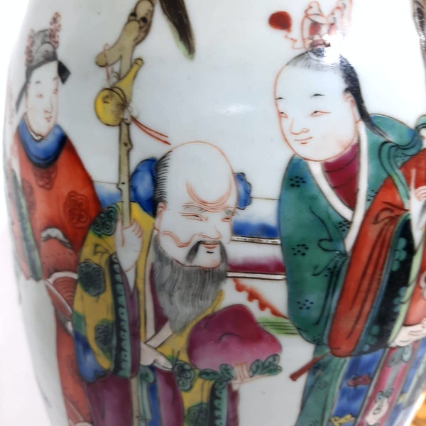 Pair Chinese famille verte lamped vases - image 7