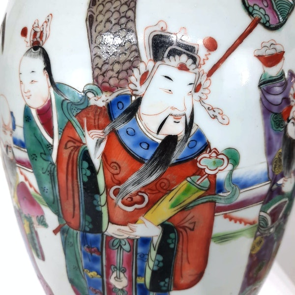 Pair Chinese famille verte lamped vases - image 5