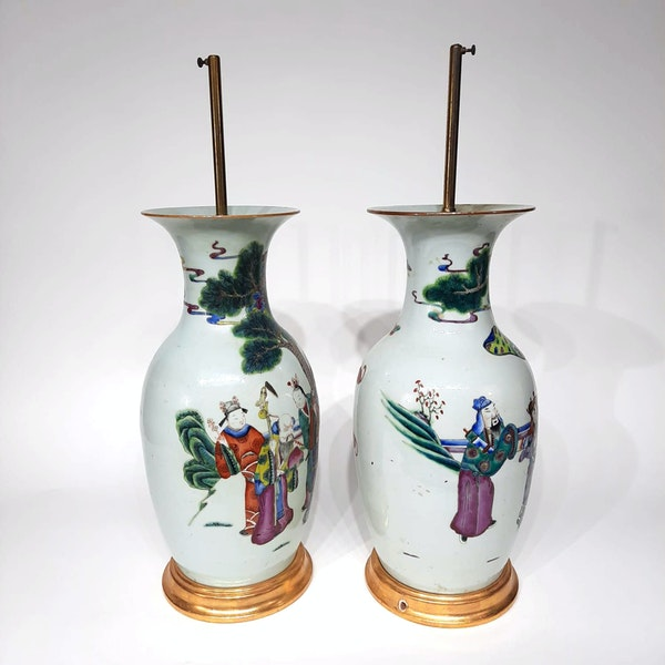 Pair Chinese famille verte lamped vases - image 2