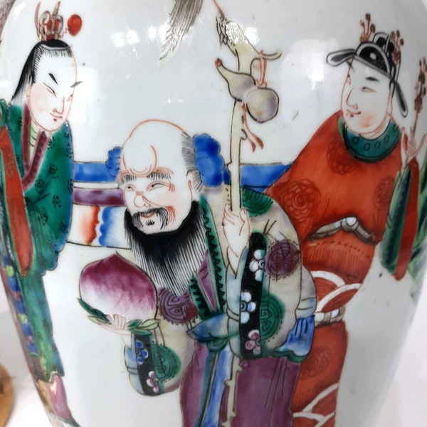Pair Chinese famille verte lamped vases - image 6