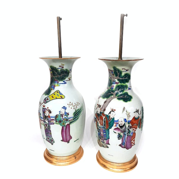Pair Chinese famille verte lamped vases - image 4
