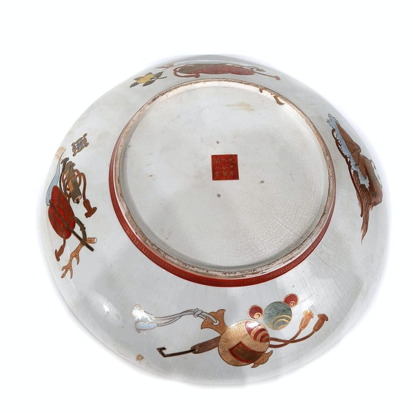 Pair Japanese Kutani plate with seven lucky gods decoration - image 4
