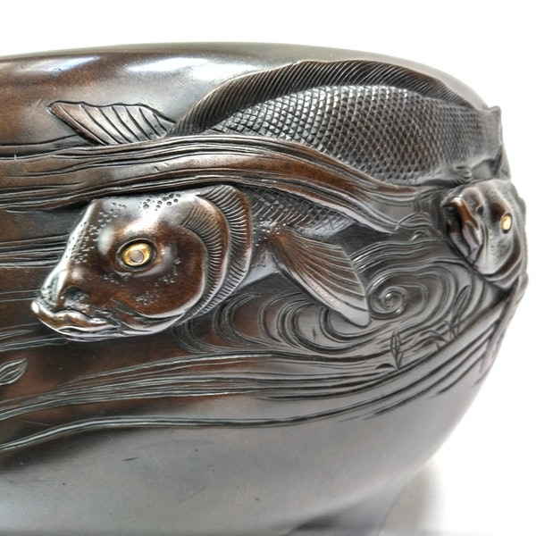 Japanese Bronze Jardiniere with Fishes  Meiji period - image 3