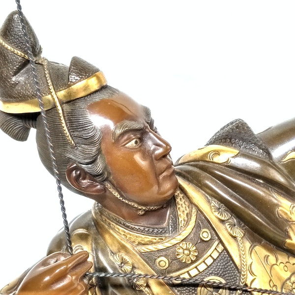 Japanese bronze and gilt sculpture of an archer - image 2