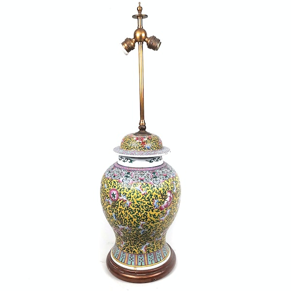 Chinese vase with yellow floral decoration converted into a lamp - image 9
