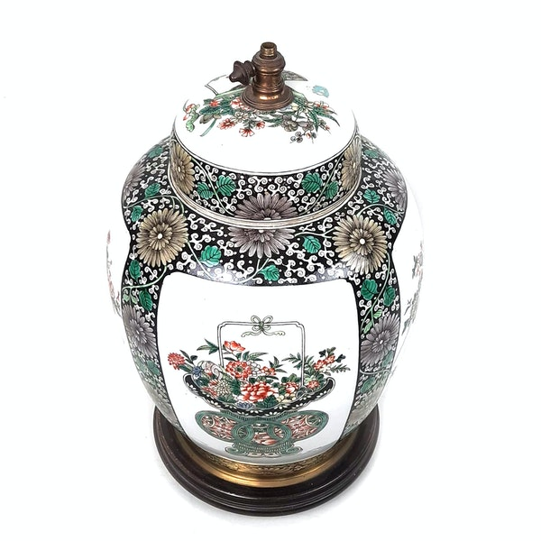 Chinese famille verte ginger jar that has been converted into a lamp - image 2