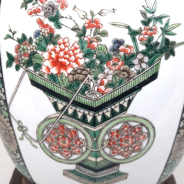 Chinese famille verte ginger jar that has been converted into a lamp - image 6
