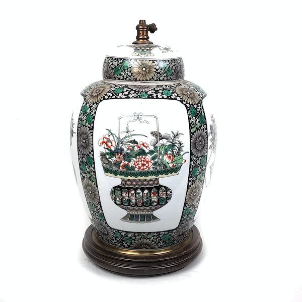 Chinese famille verte ginger jar that has been converted into a lamp - image 5