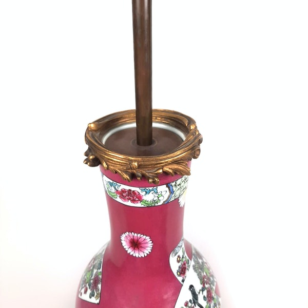 Chinese style French Samson vase converted into a lamp - image 2
