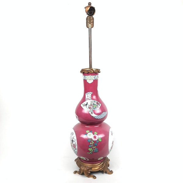 Chinese style French Samson vase converted into a lamp - image 7