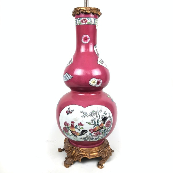 Chinese style French Samson vase converted into a lamp - image 6